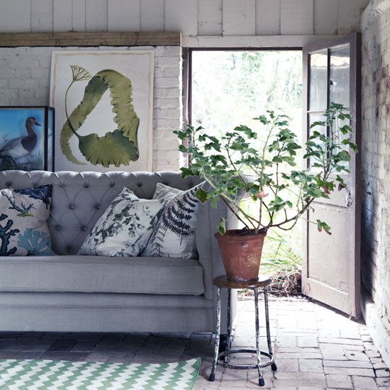 Neutral room with green accents in botanical print and graphic floor rug | Design ideas | Housetohome | PHOTOGALLERY