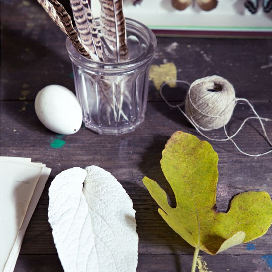 Plaster leaf, vintage french jam jar and feather display | Design ideas | Housetohome | PHOTOGALLERY