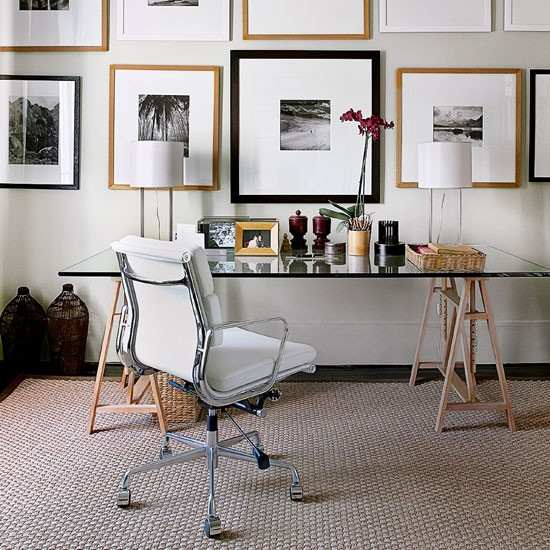 Retro modern white office | Living room