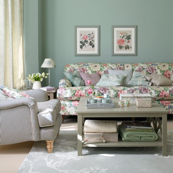 Aquamarine Country Living Room Living Room Ideas