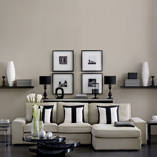 Modern monochrome living room living room housetohome for Neutral living room ideas