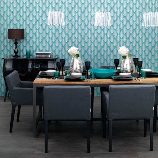 Design a modern dining room with blue walls motif and furniture dark