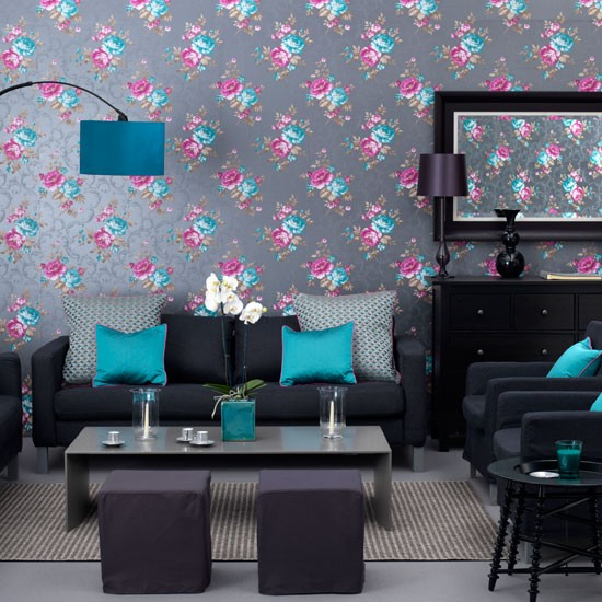 Sophisticated teal living room living room wallpaper for Teal blue living room ideas