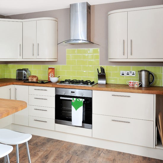 Cream modern kitchen  Kitchen designs  Colourful splashback