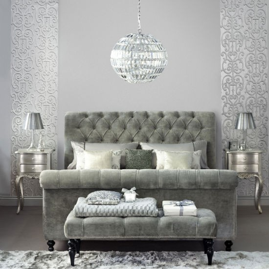 Glamorous pewter bedroom bedroom colour schemes for Grey silver wallpaper living room