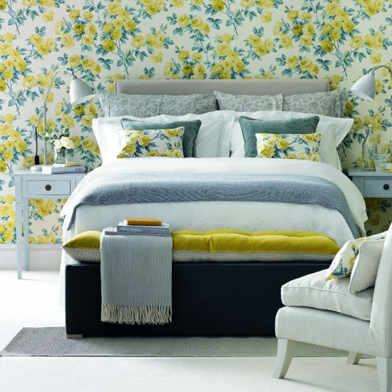 Bedroom Colour Schemes: Yellow And Grey Floral Bedroom