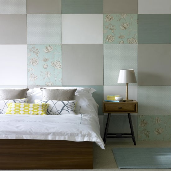 Duck egg And Taupe Patchwork Bedroom Colour