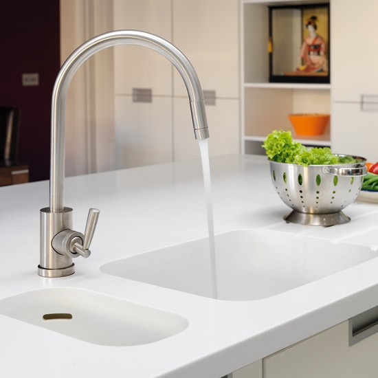Sink and tap | Take a tour around a sleek white kitchen | Kitchen tour | Beautiful Kitchens | PHOTO GALLERY