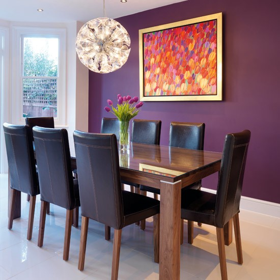 Dining area real homes modern white kitchen for Purple feature wallpaper living room