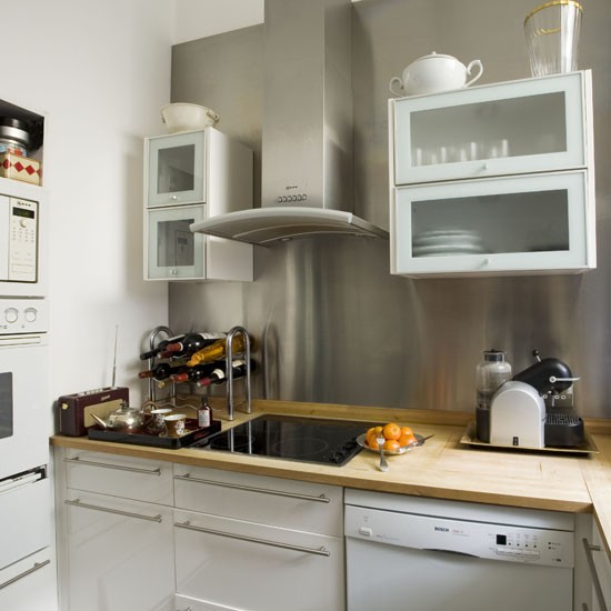 Small kitchen with statement splashback small kitchen for Beautiful small kitchen designs