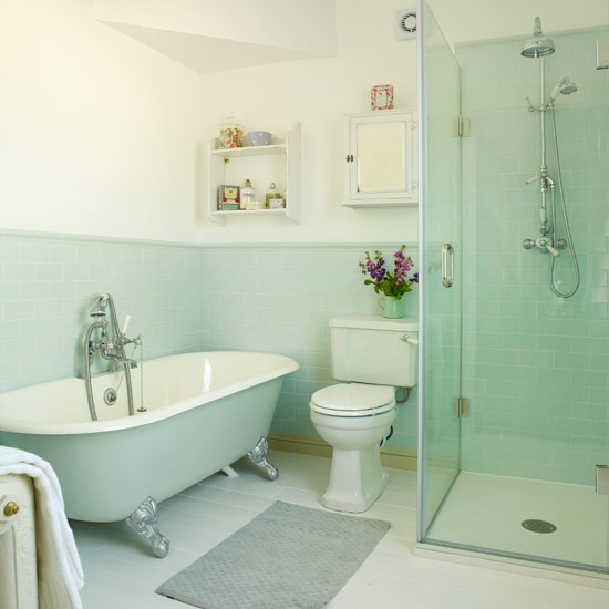 Period style bathroom ideas for Blue green bathroom ideas