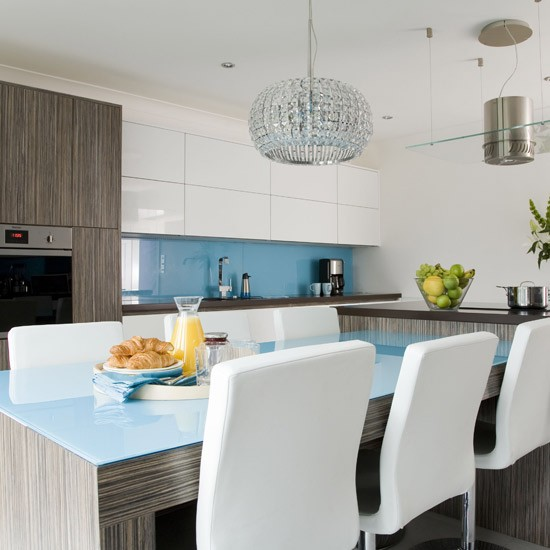 Modern blue kitchen | Modern kitchen designs | Colourful kitchen splashbacks | Housetohome