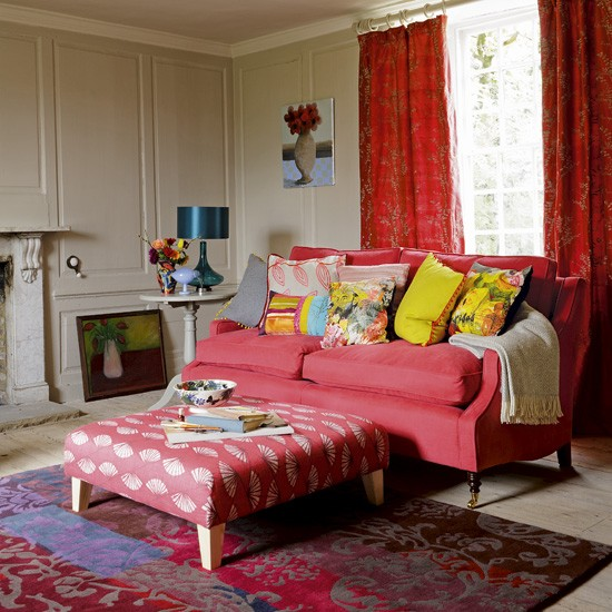 Bold red living room | Living room ideas | Colourful living rooms | Country Homes & Interiors