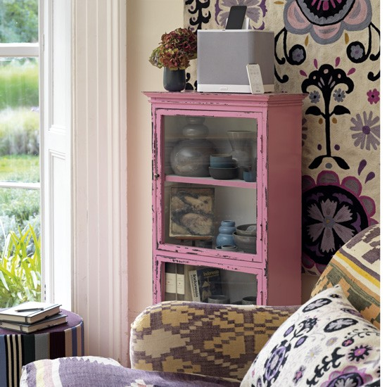 Patterned pastel living room | Living room storage ideas | Country Homes & Interiors