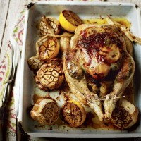 Roast chicken with smoked garlic and lemon