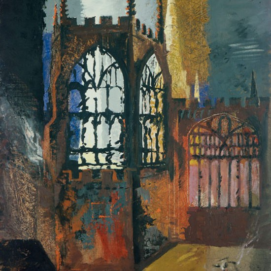 """Coventry Cathedral, 15th November, 1940"", has been loaned by Manchester City Galleries for the exhibition of John Piper's work."
