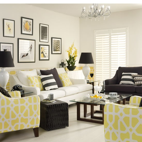 Mix monochrome with sunny yellow to give the scheme a lift