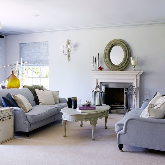 Soft grey living room traditional living room ideas New build living room designs