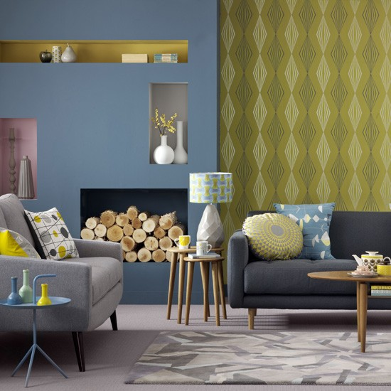 Blue and yellow living room living room colours geometric prints