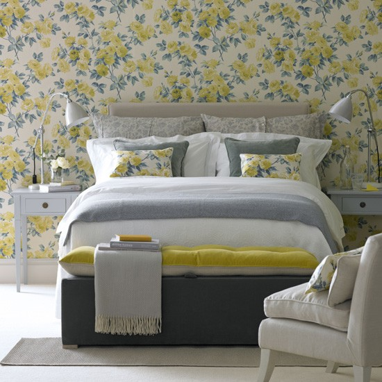 Floral yellow bedroom | Country bedroom decorating | Floral wallpaper | Housetohome