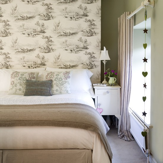 natural bedroom with toile wallpaper neutral bedrooms bedroom