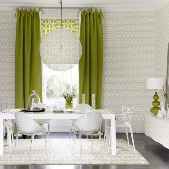 green and white dining room modern dining rooms