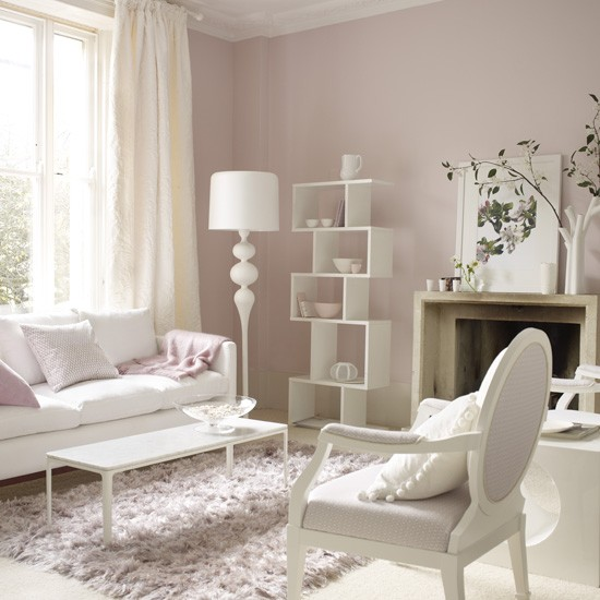 Pastel pink living room traditiaonal living rooms Pink room with white furniture