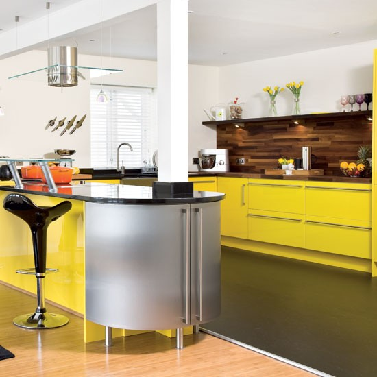 take a tour around a bright yellow kitchen