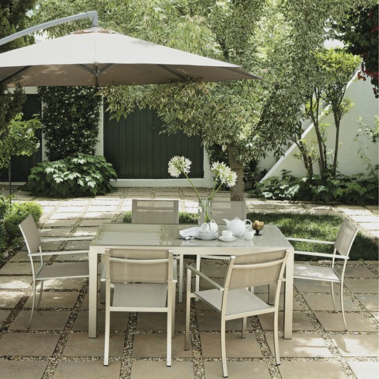A nother good-value set is the Palermo dining set from Homebase (£), which seats nine around a central table.. For comfort, try a pair of rounded Montana sofas, from the Garden Furniture.
