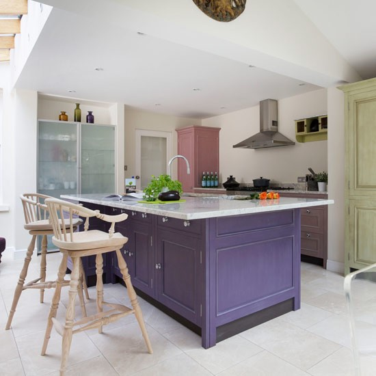 Purple Kitchen Decor Ideas: Marble Stone And Purple Traditional Kitchen