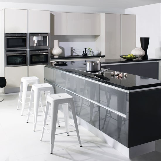 White Gloss Kitchen Grey Worktop: Kitchen Cupboard Doors Without Handles