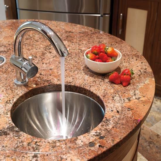 Prep sink take a tour around a curved walnut kitchen - Luisina mixer ...