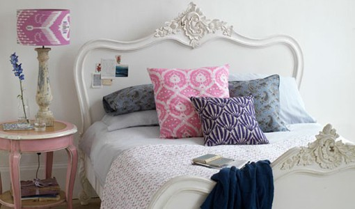 White and pink bedroom