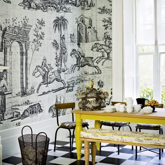 Modern toile dining room  Modern dining room