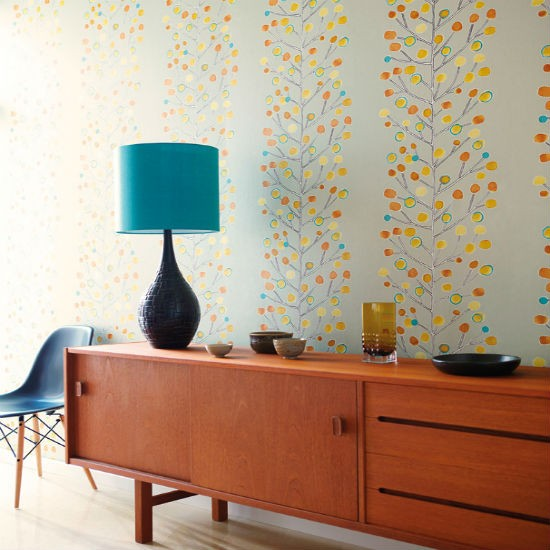We love the muted tones of this Berry Tree wallpaper