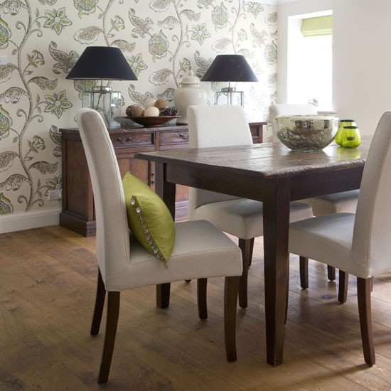 Botanical print feature wall feature walls 10 ideas for Wallpaper for dining room feature wall