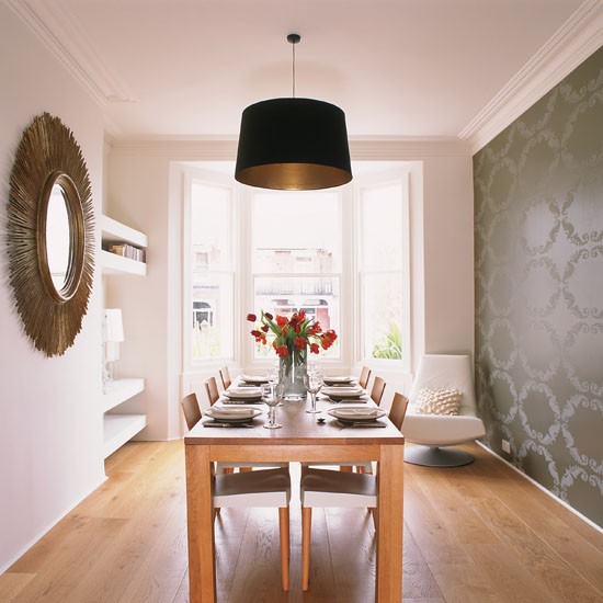 Monochrome feature wall feature walls 10 ideas for Wallpaper for dining room feature wall