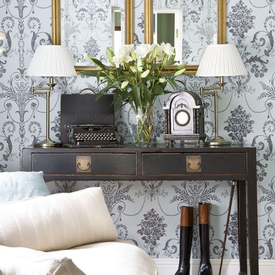 Pale blue wallpaper feature wall | Feature walls | decorating ideas | PHOTO GALLERY | 25 Beautiful Homes | Housetohome
