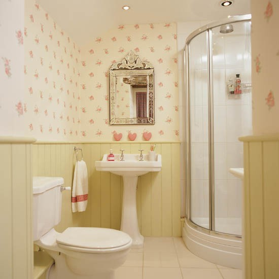 Printed wallpaper with tongue and groove panelling for Bathroom ideas using tongue and groove