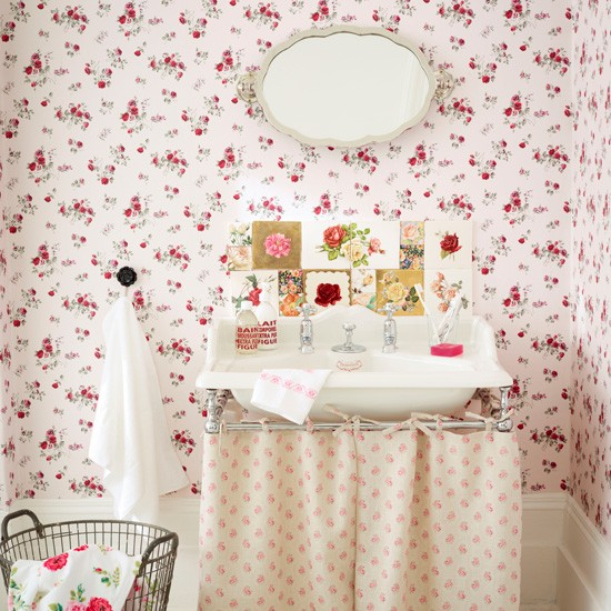 Vintage rose bathroom | Country bathroom designs | Bathroom wallpaper | Housetohome