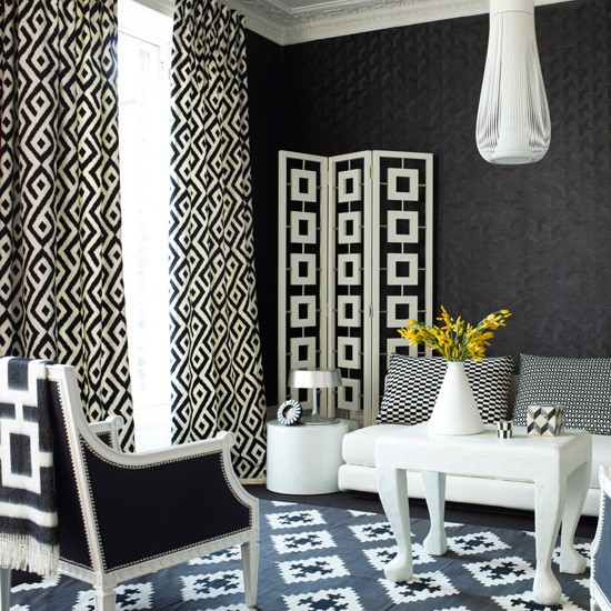 Monochrome Geometric Living Room Modern Living Rooms