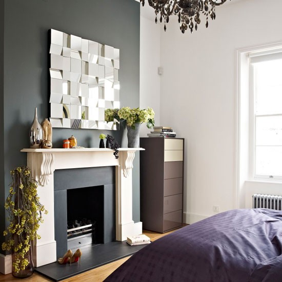 Master bedroom be inspired by a dark and dramatic victorian town house - Feature wall ideas living room with fireplace ...