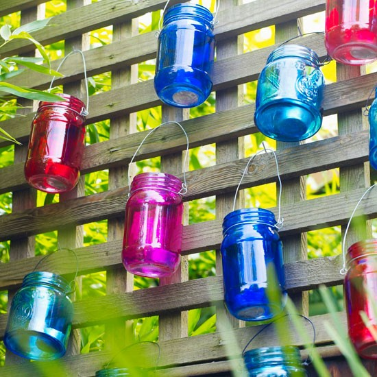 Colourful jam jar candle holders | Outdoor lighting - 10 ideas | garden lighting ideas | garden ideas | housetohome