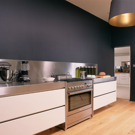 Kitchen with statement grey wall contemporary kitchens for Kitchen wall paint design