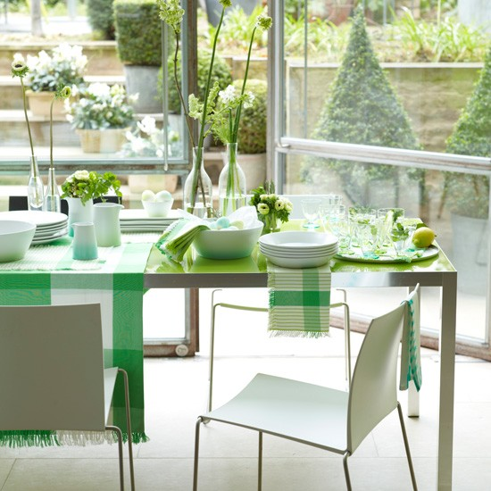 Calm green dining area