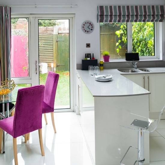 Kitchen Diner Layout Ideas: White Lacquered Kitchen-diner