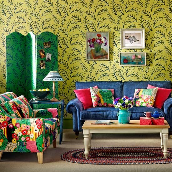 Bohemian style living room colourful living room ideas for Bohemian chic living room makeover