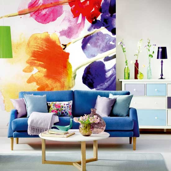 Bold floral living room | Decorating ideas | Ideal Home