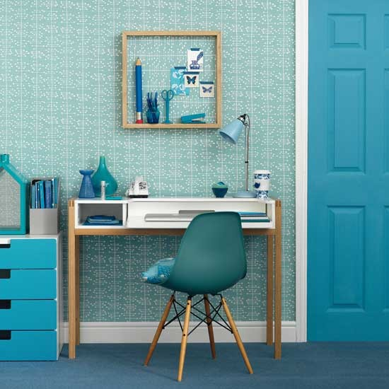 Modern Blue Home Office Decorating Ideas