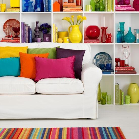 Rainbow-bright living room | Decorating with colour | Ideal Home